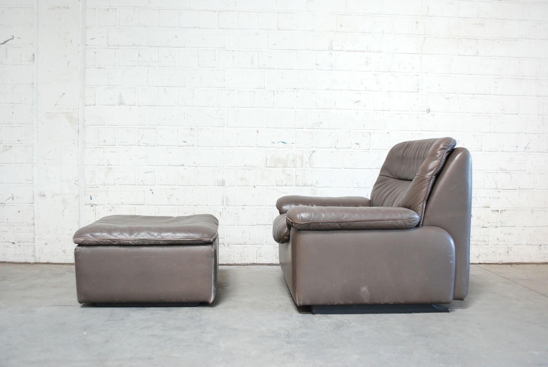 Swiss Grey Leather Lounge Chair U0026 Ottoman From De Sede, 1980s