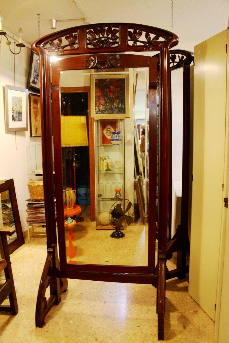Antique Spanish Art Nouveau Walnut Standing Mirror, 1900s for sale ...