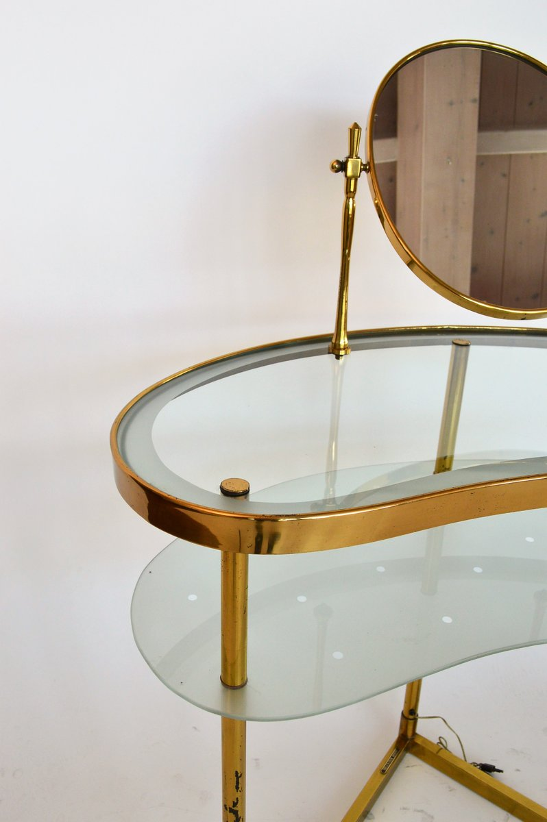 coiffeuse en laiton verre italie 1950s en vente sur pamono. Black Bedroom Furniture Sets. Home Design Ideas