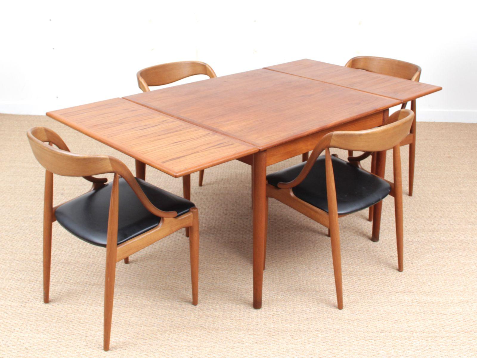 table de salle manger en teck 1960s en vente sur pamono. Black Bedroom Furniture Sets. Home Design Ideas