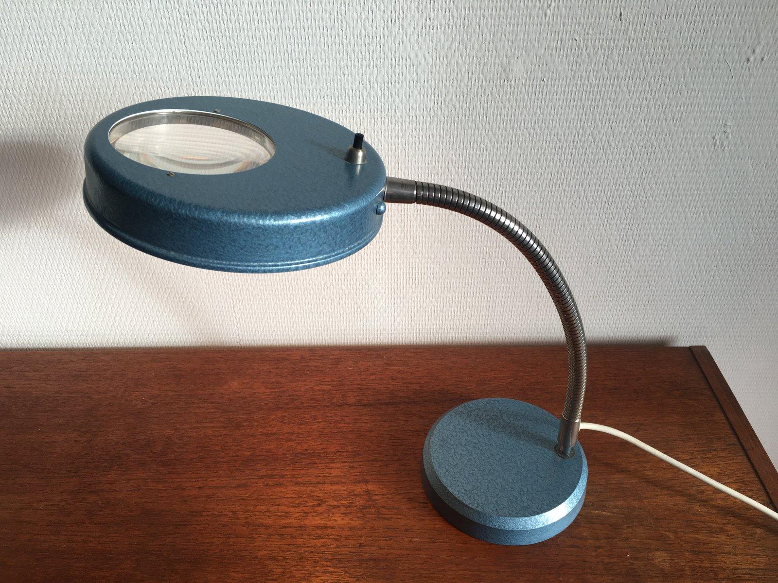 Vintage Industrie Schreibtischlampe mit Lupe, 1950er
