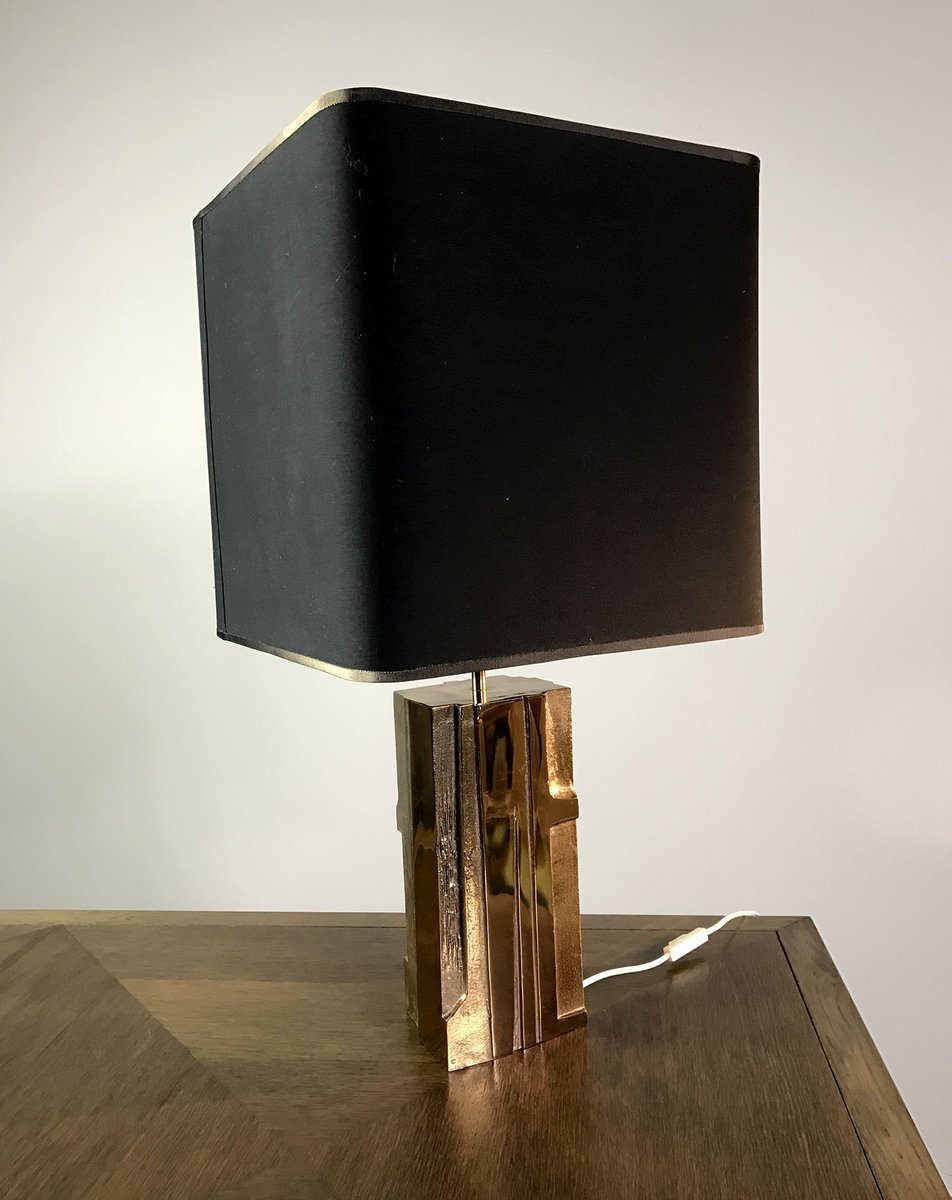 Französische Lampe aus Vergoldeter Bronze von Michel Mangematin, 1960e...