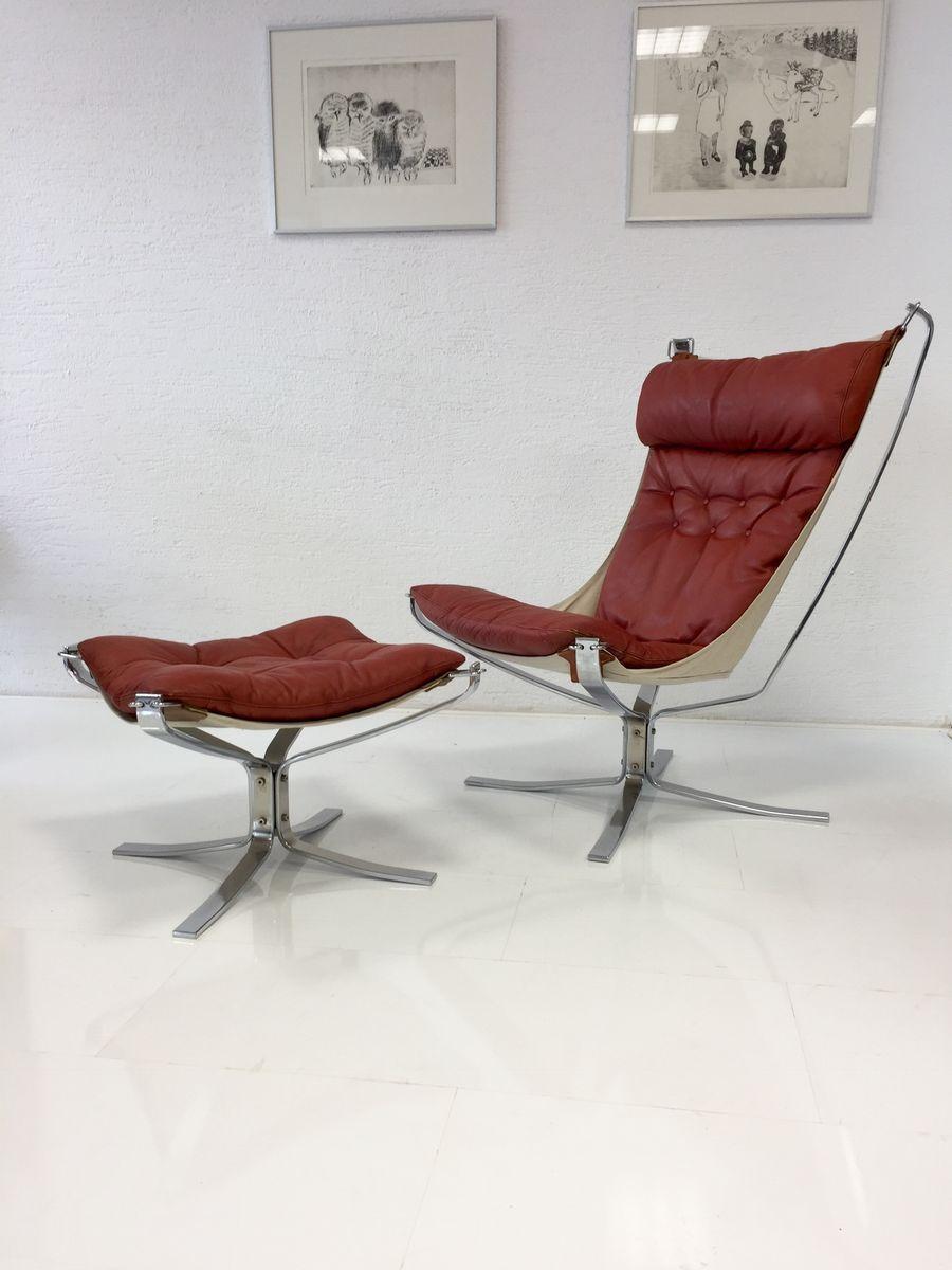 norwegischer falcon sessel mit fu hocker von sigurd ressell f r vatne 1970er bei pamono kaufen. Black Bedroom Furniture Sets. Home Design Ideas
