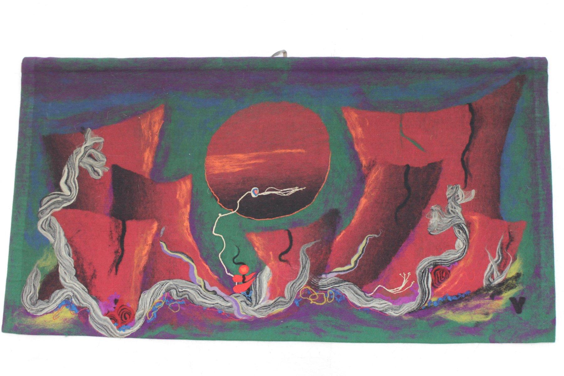 Großer Tschechoslowakischer Wandteppich von M. & B. Vrzalovi für Art P... | Heimtextilien > Teppiche > Wandteppich | Mehrfarbig | Wolle