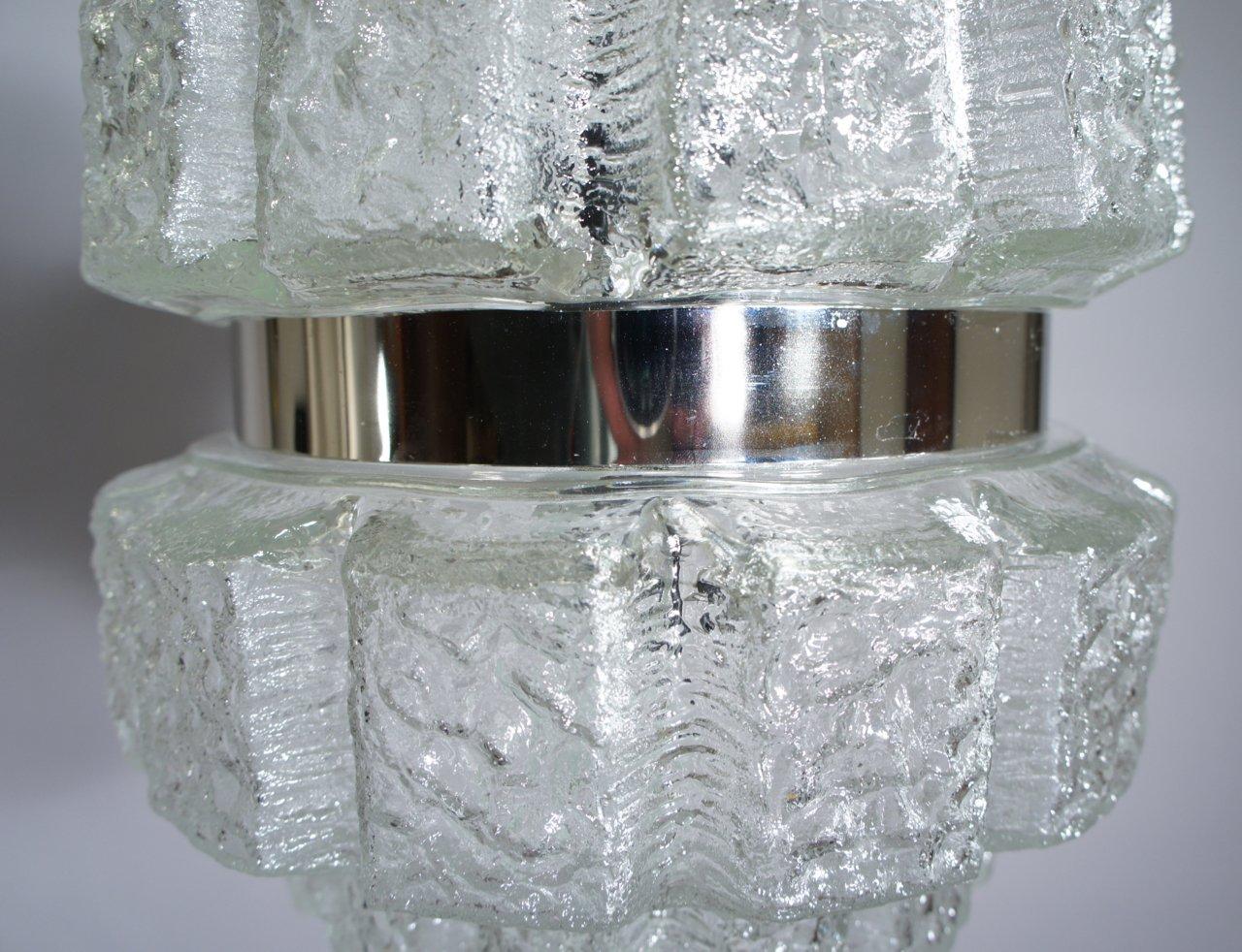 deckenlampe aus glas verchromten metall 1960er bei pamono kaufen. Black Bedroom Furniture Sets. Home Design Ideas