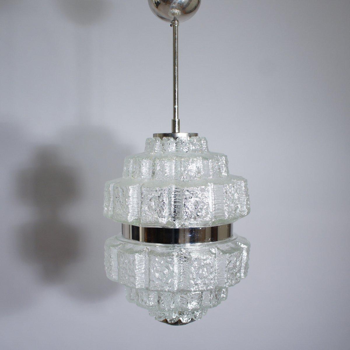 Deckenlampe aus Glas & Verchromten Metall, 1960er