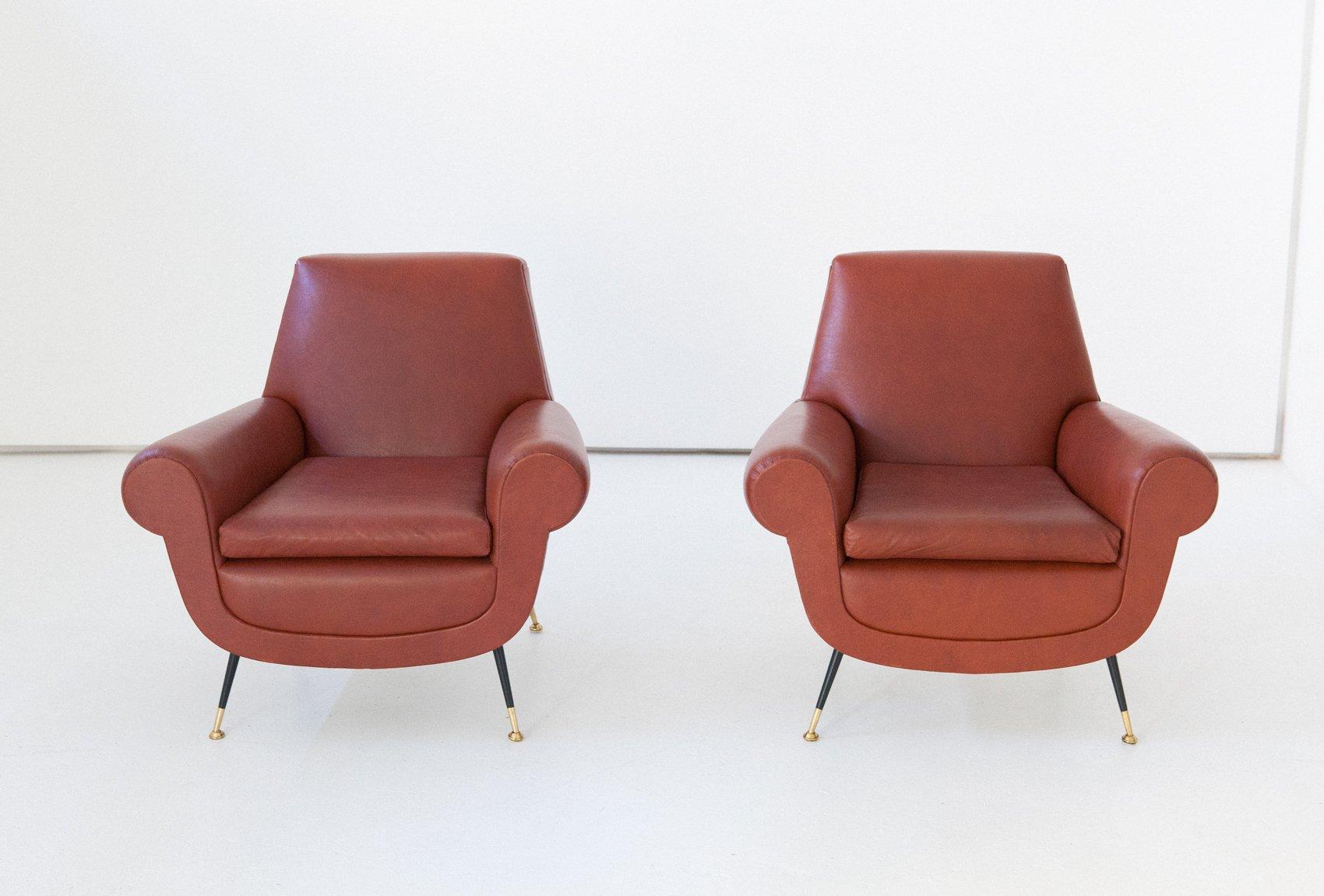 italienische sessel aus kunstleder von gigi radice f r minotti 1950er 2er set bei pamono kaufen. Black Bedroom Furniture Sets. Home Design Ideas