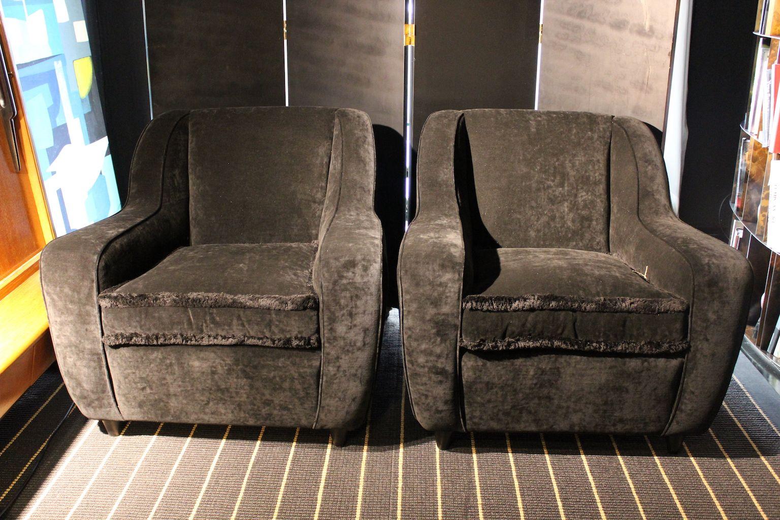 Schwarze Samt Sessel, 1950er, 2er Set