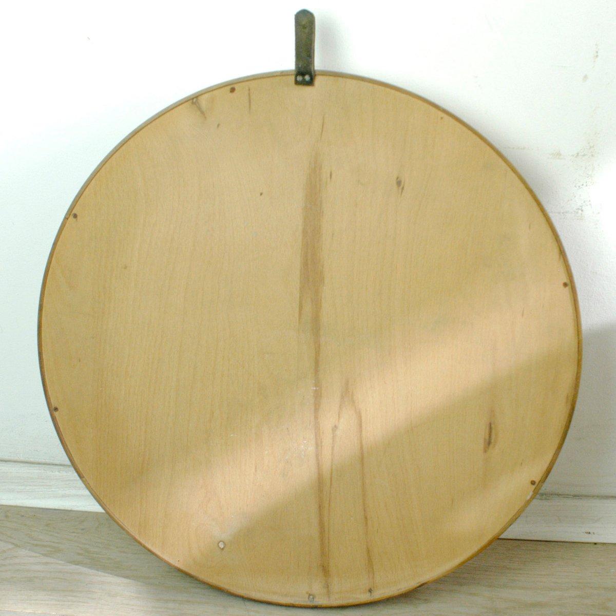 runder wandspiegel mit teak rahmen 1960er bei pamono kaufen. Black Bedroom Furniture Sets. Home Design Ideas