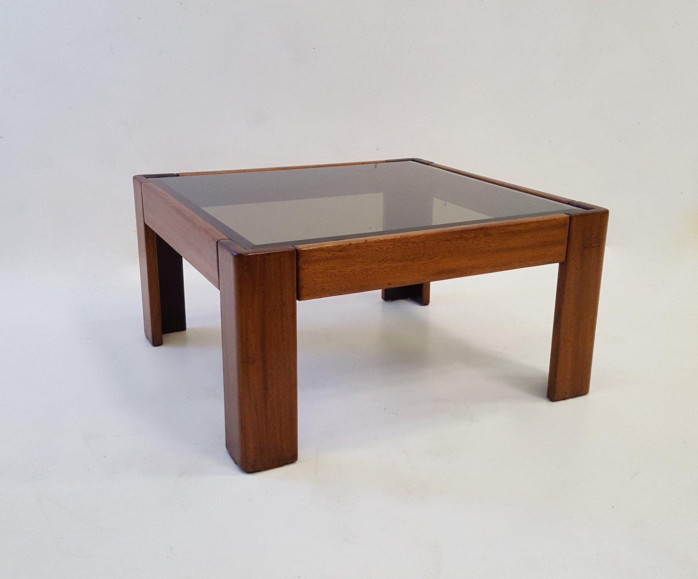 Bastiano Couchtisch aus Teak & Glas von Tobia Scarpa für Knoll, 1969
