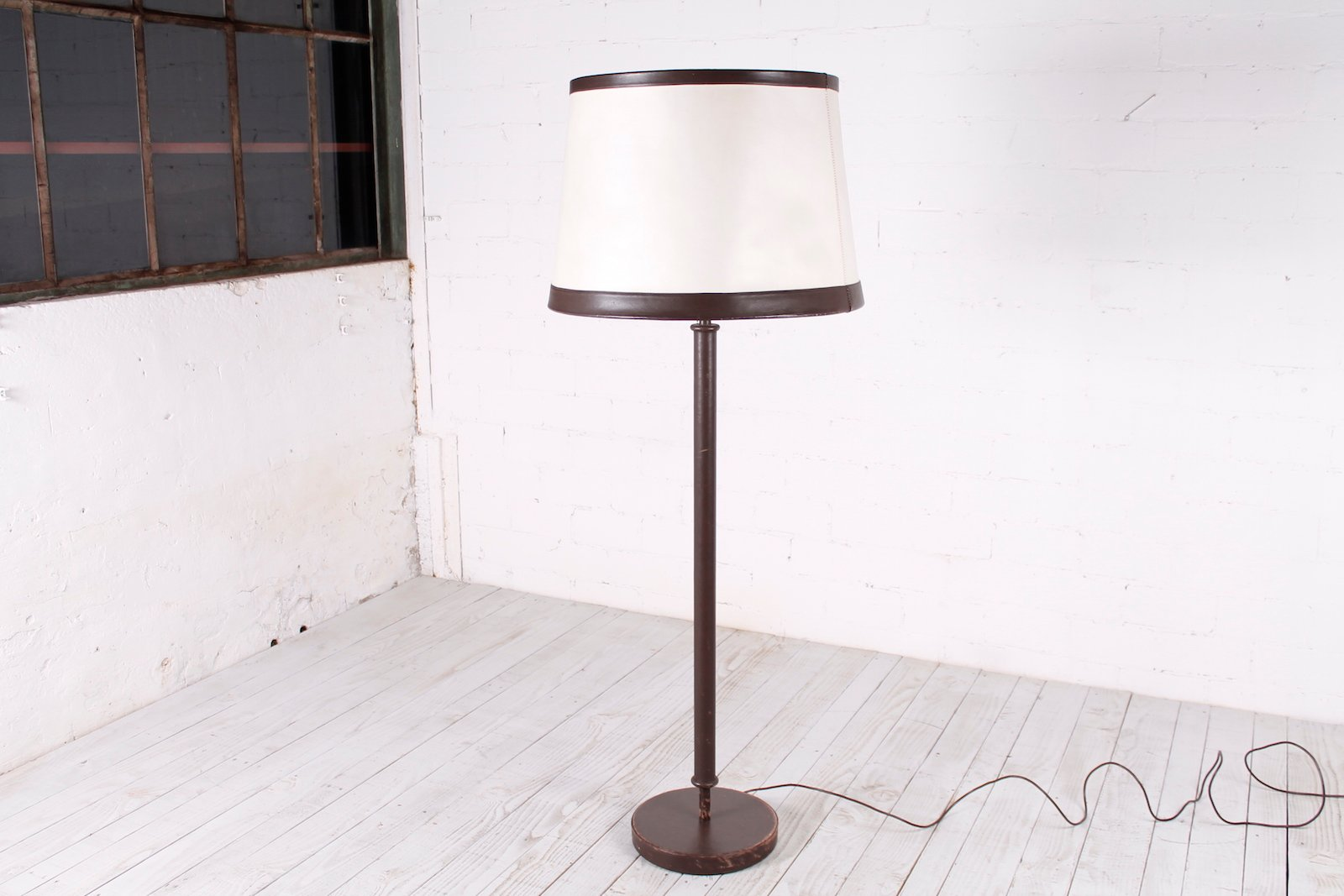 Große Leder Stehlampe, 1980er