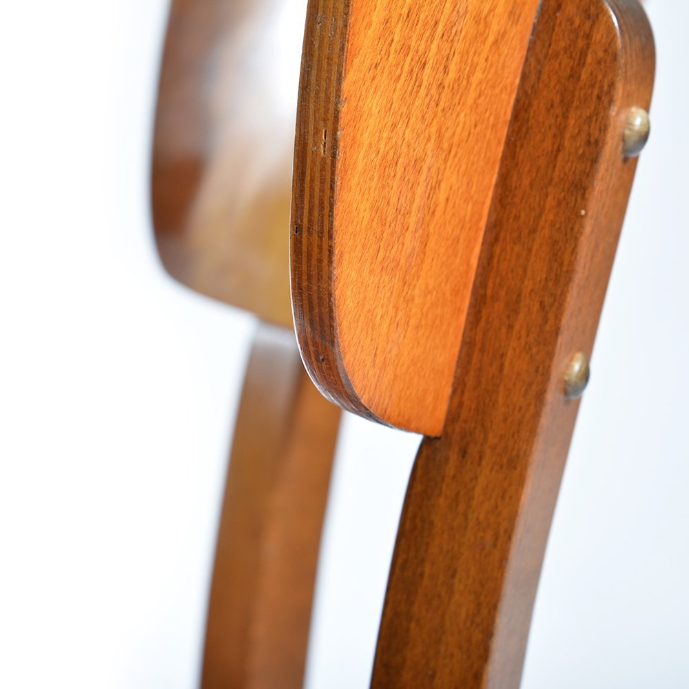 Chairs In Wooden Veneer 1950s Set Of 4 For Sale At Pamono