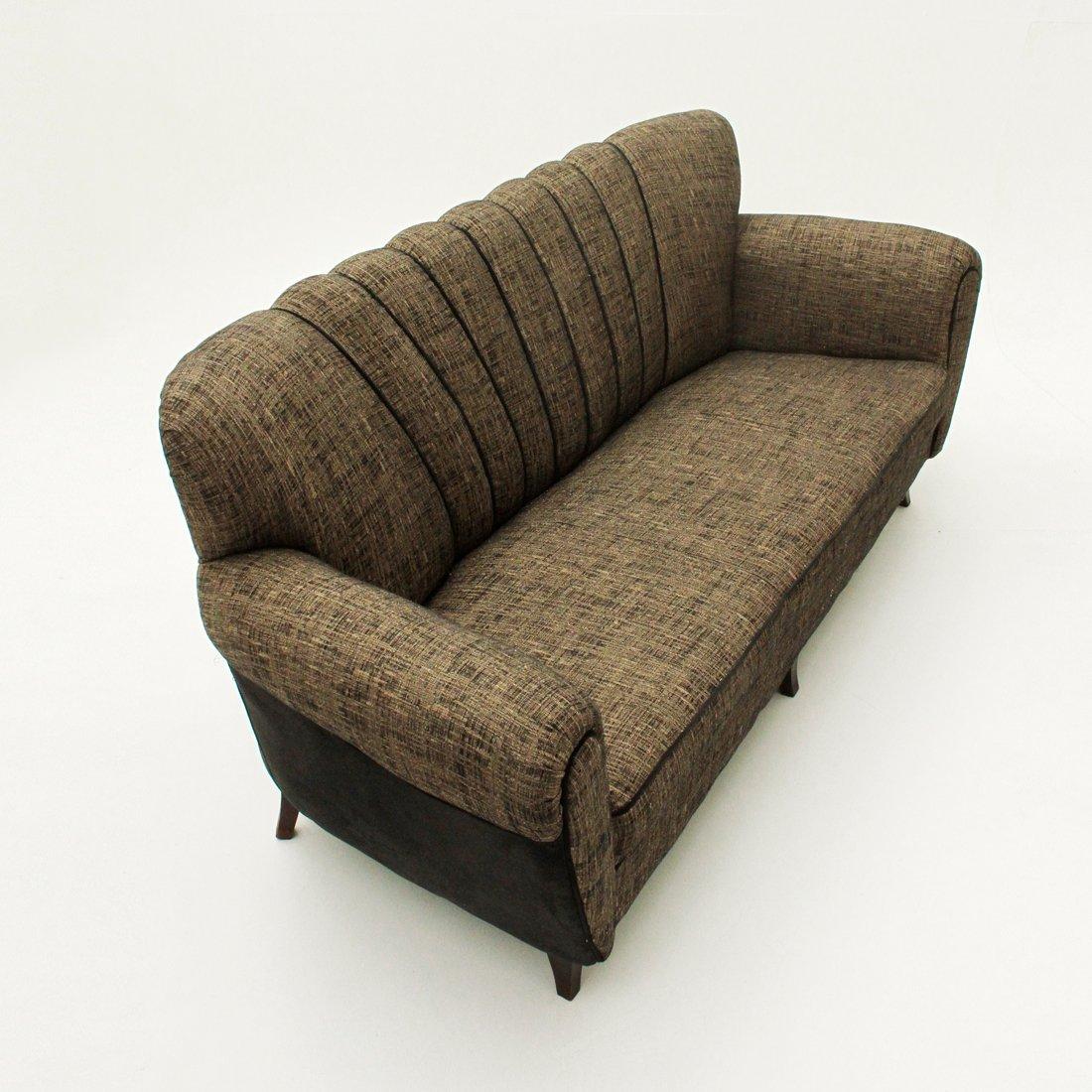 italienisches drei sitzer sofa in braun schwarz 1950er bei pamono kaufen. Black Bedroom Furniture Sets. Home Design Ideas