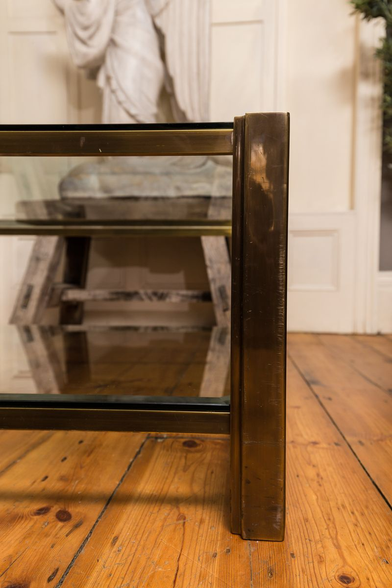 italienischer vintage couchtisch aus messing glas 1970er bei pamono kaufen. Black Bedroom Furniture Sets. Home Design Ideas