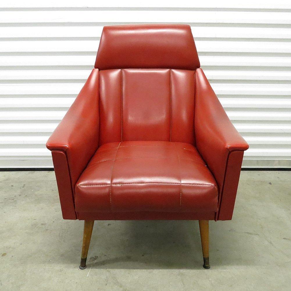 Rote Mid-Century Skai Sessel, 1960er, 2er Set