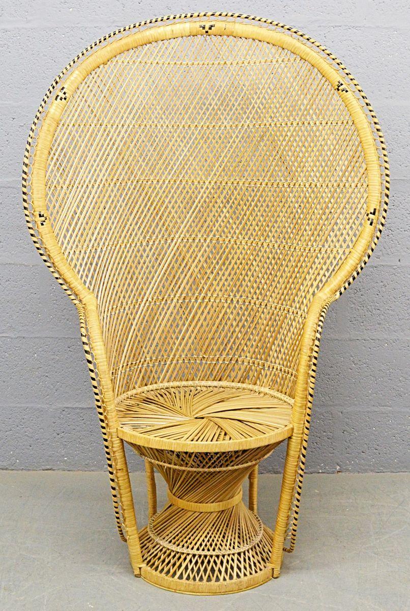 Mid Century Rattan Peacock Chair, 1970s