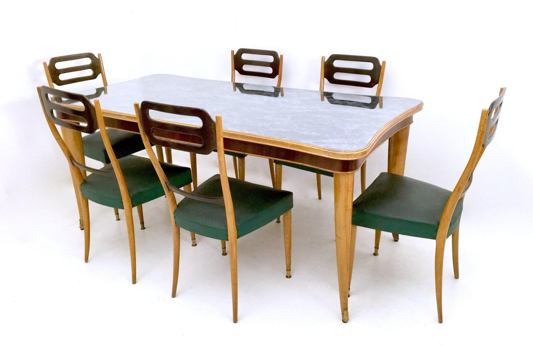 Italienischer Esstisch aus Buche & Ahorn, 1950er
