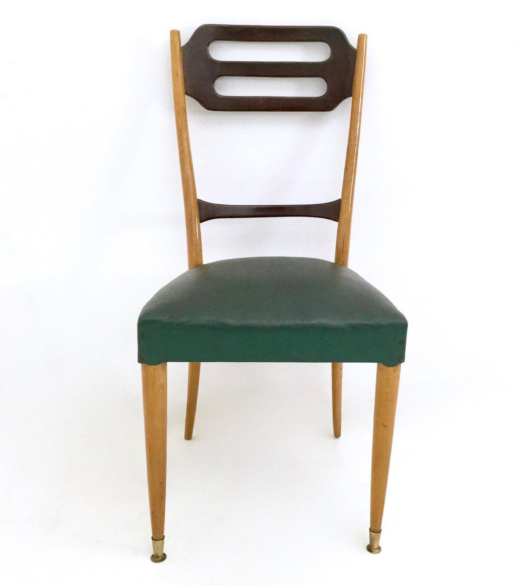 Sedie da pranzo in similpelle verde italia anni 39 50 set for Sedie similpelle
