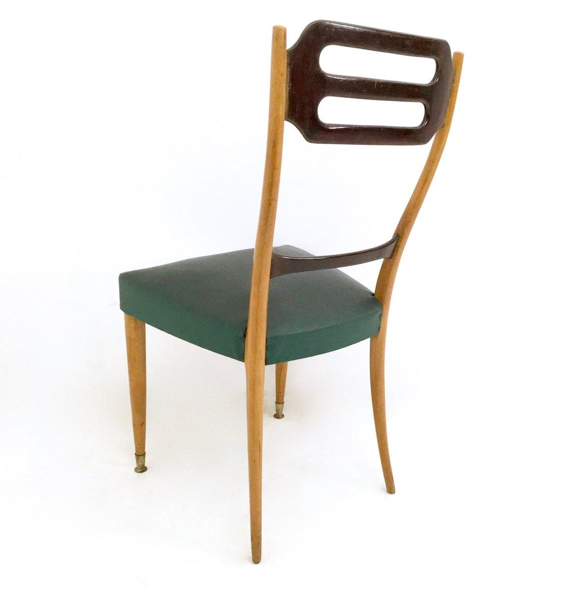 Sedie da pranzo in similpelle verde italia anni 39 50 set for Sedie da pranzo