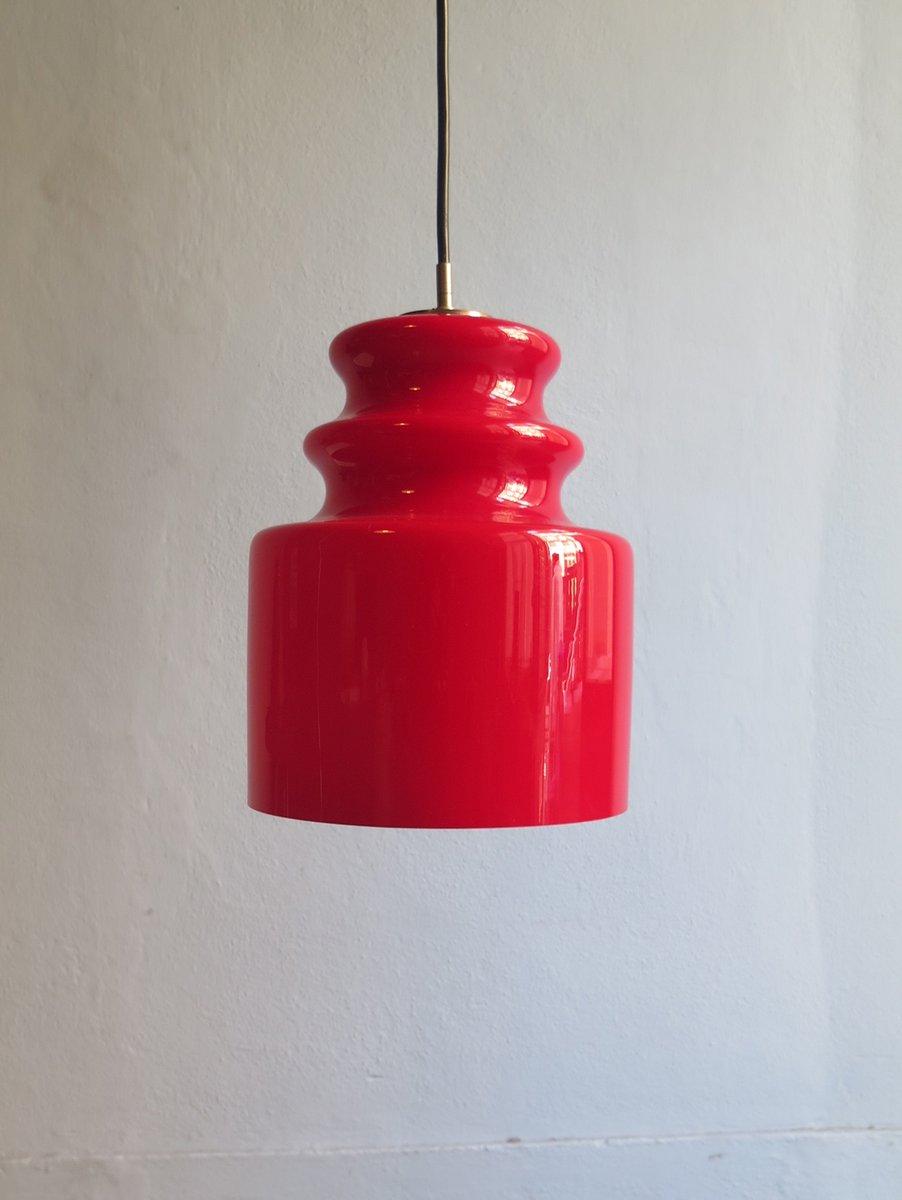 Rote Vintage Hängelampe aus Opalglas von Peill & Putzler