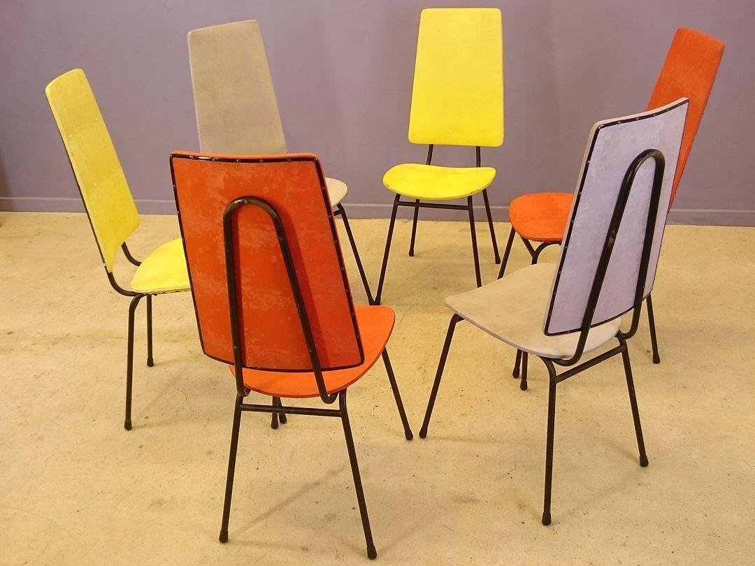 chaises dossier haut par jacques hitier 1950s set de 6 en vente sur pamono. Black Bedroom Furniture Sets. Home Design Ideas