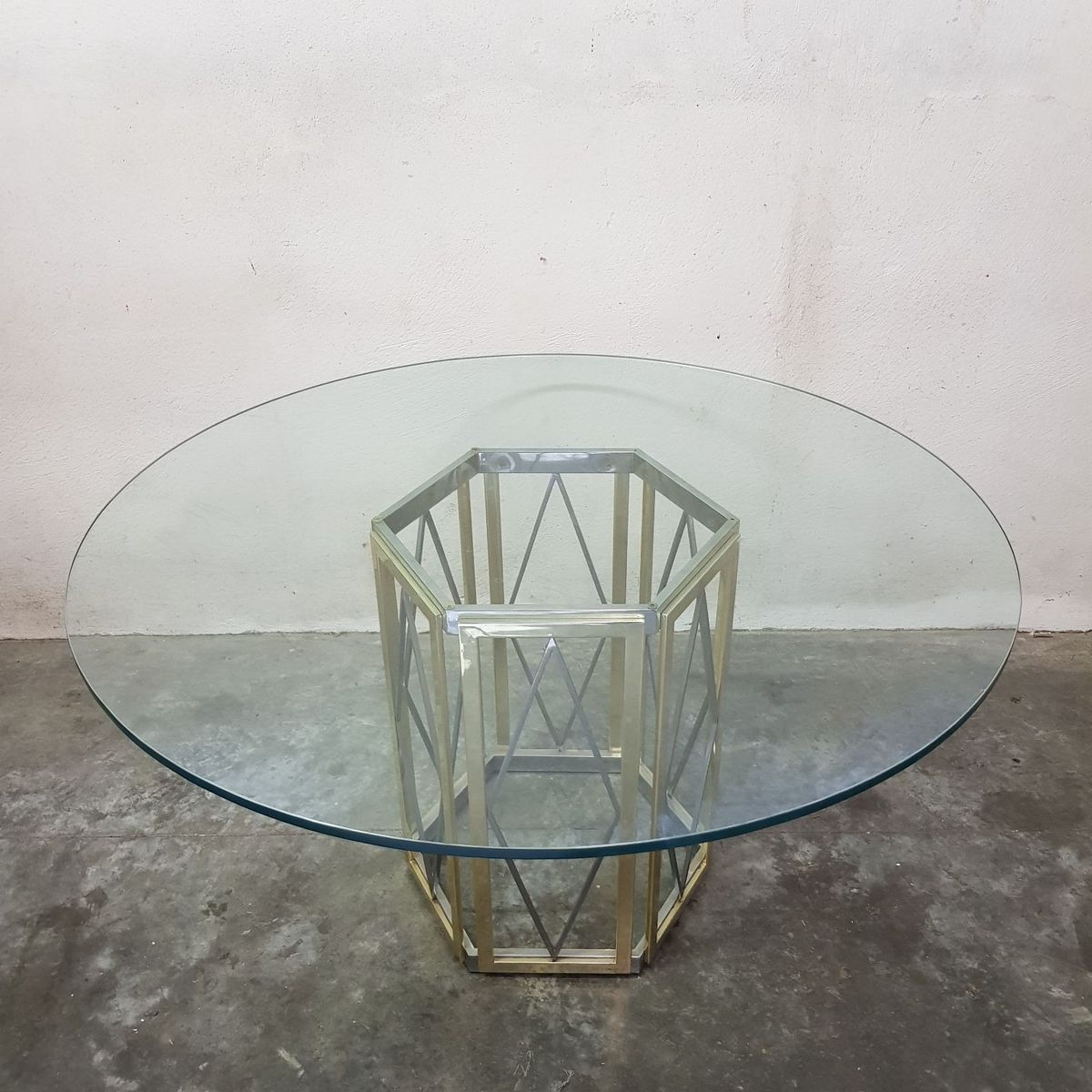 Italienischer Mid-Century Esstisch aus Glas & Messing von Renato Zevi,...