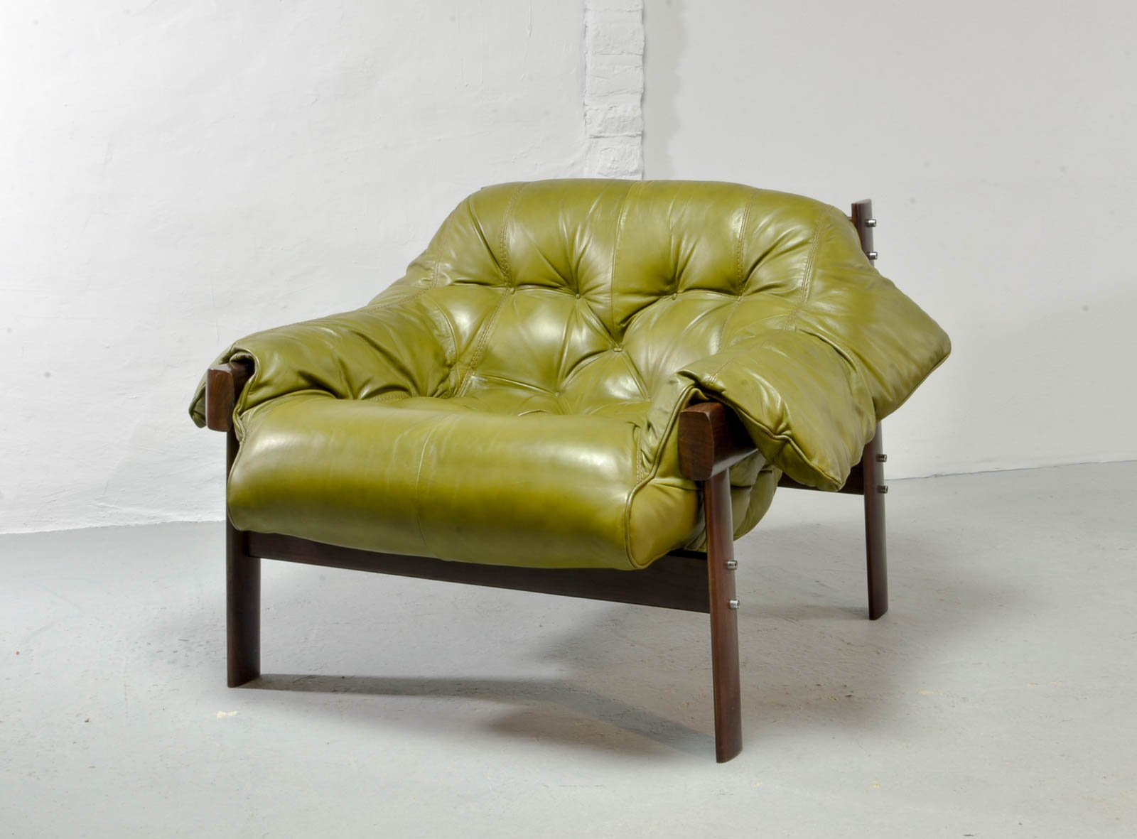 Olive Green Leather Lounge Chairs & Ottoman By Percival Lafer, 1960s For Sale At Pamono
