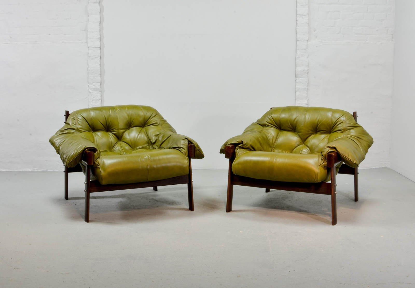 Olivgrüne Leder Sessel & Ottomane von Percival Lafer, 1960er