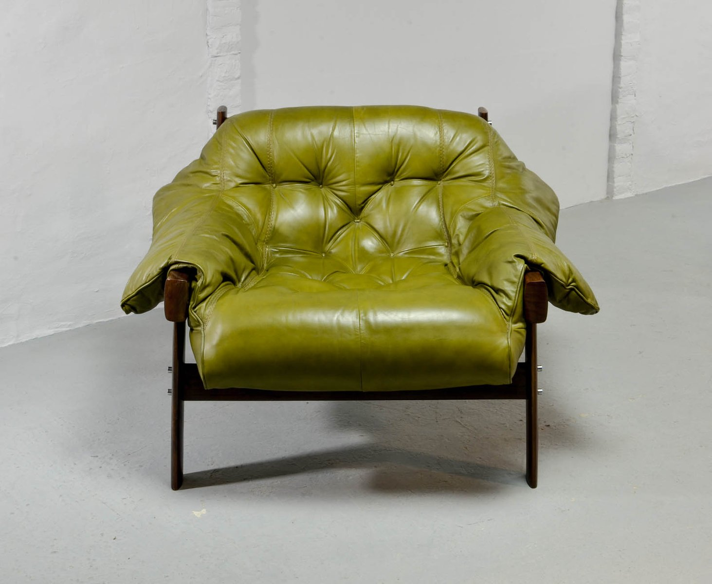 Olive Green Leather Lounge Chairs Amp Ottoman By Percival