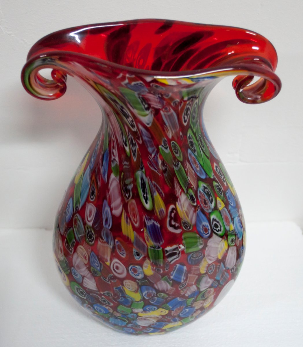 vase vintage en verre de murano multicolore de fratelli toso italie 1970s en vente sur pamono. Black Bedroom Furniture Sets. Home Design Ideas