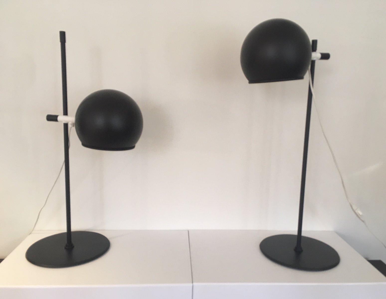 Matte Schwarze Tischlampen von Hemi, 1960er, 2er Set