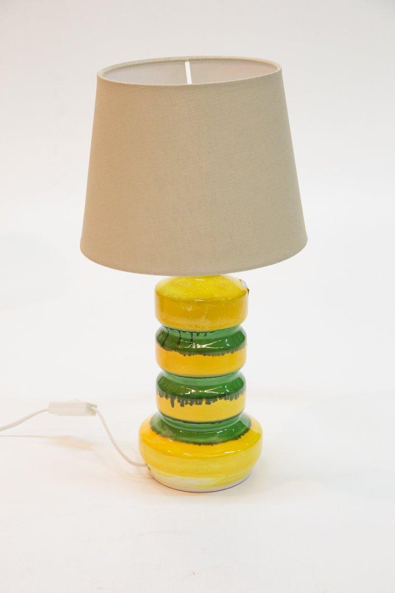 Grün-Gelbe Tischlampe aus Glasierter Keramik, 1970er
