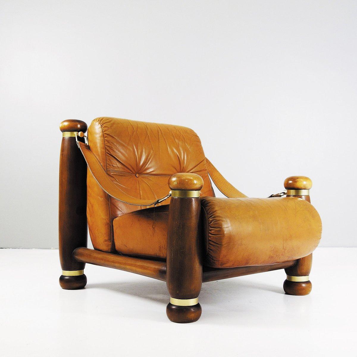 Großer Sessel aus Leder, 1970er