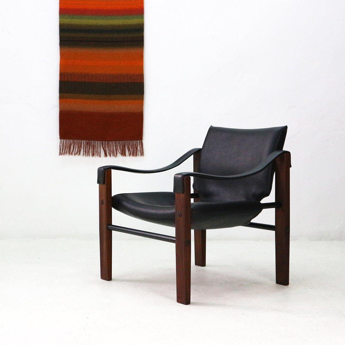 Mid-Century Safari Chelsea Sessel aus Teak & Kunstleder von Maurice Bu...