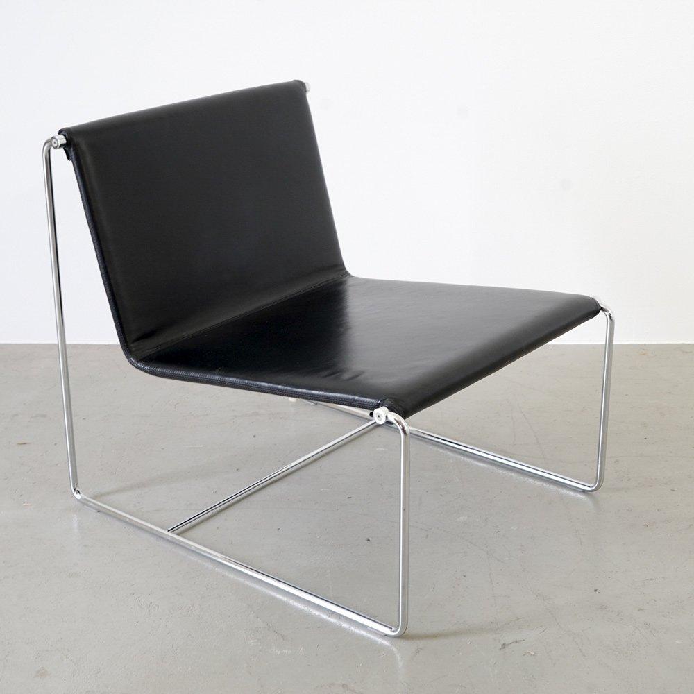 Schwarzer Italienischer Vintage Leder Sessel von Zanotta