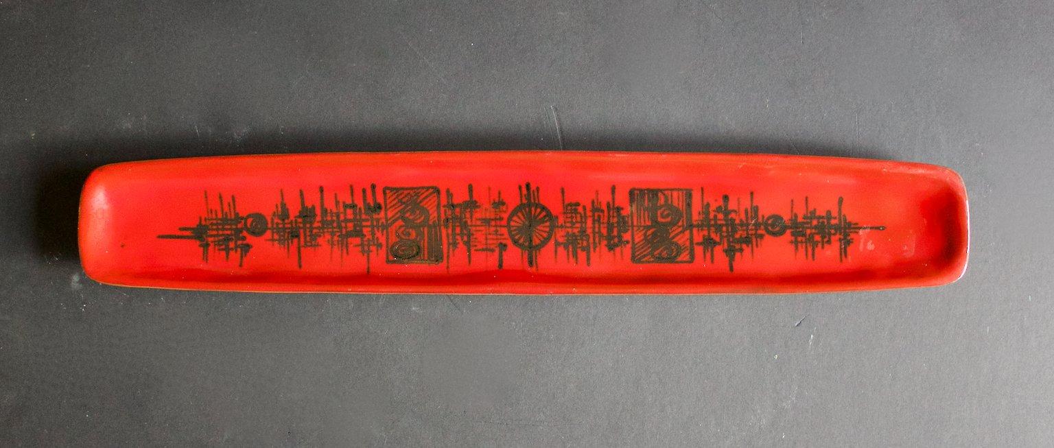 Keramik Tablett von F. Sanchez, 1960er