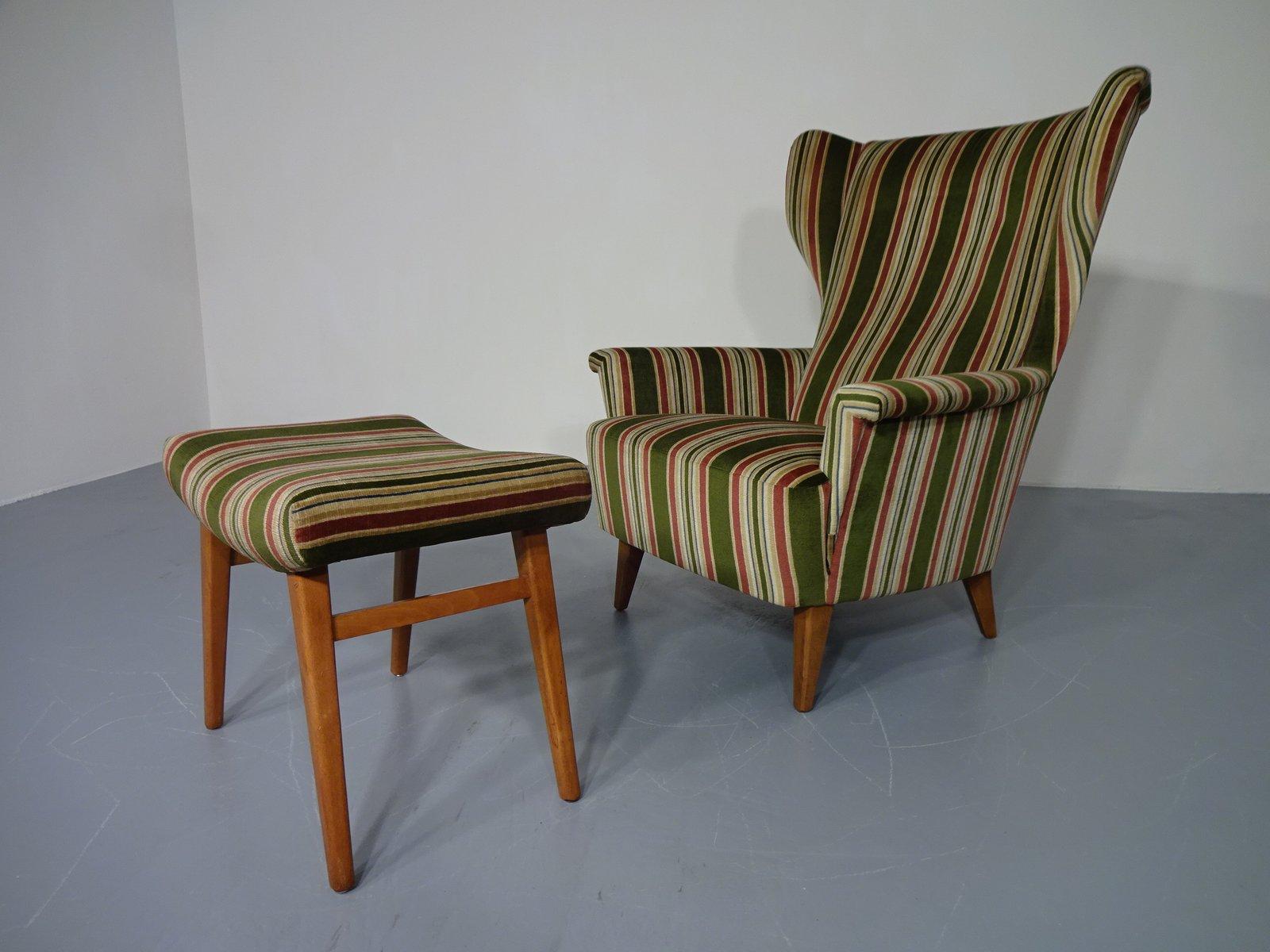 Wingback Chair U0026 Ottoman, 1950s