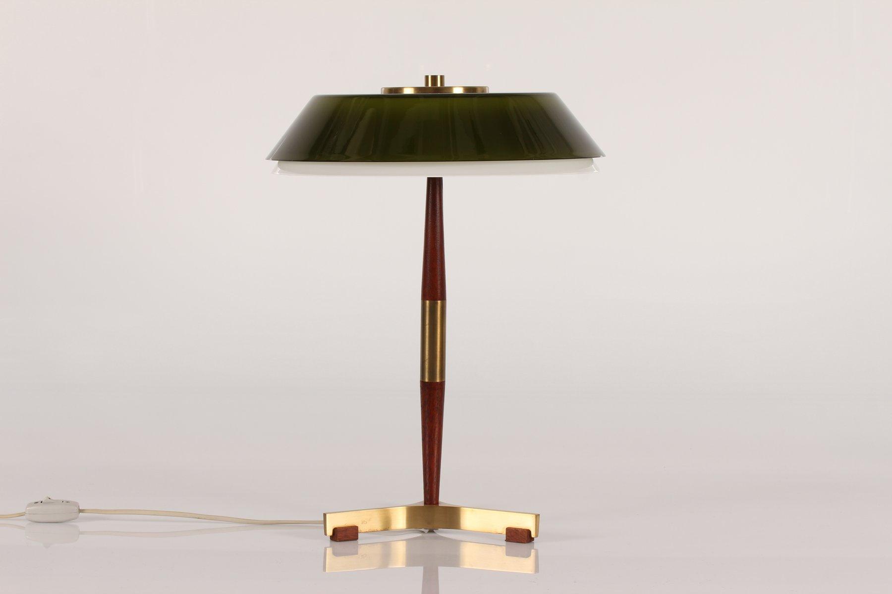 President Schreibtischlampe mit Grüner Glasleuchte von Jo Hammerborg f...