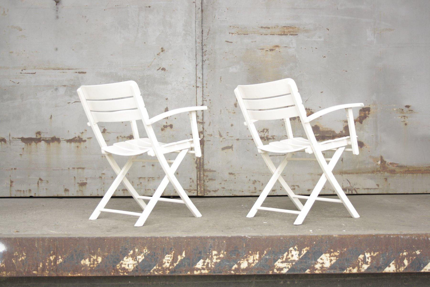 Legno Bianco Vintage : Sedie da giardino pieghevoli vintage in legno laccato bianco di