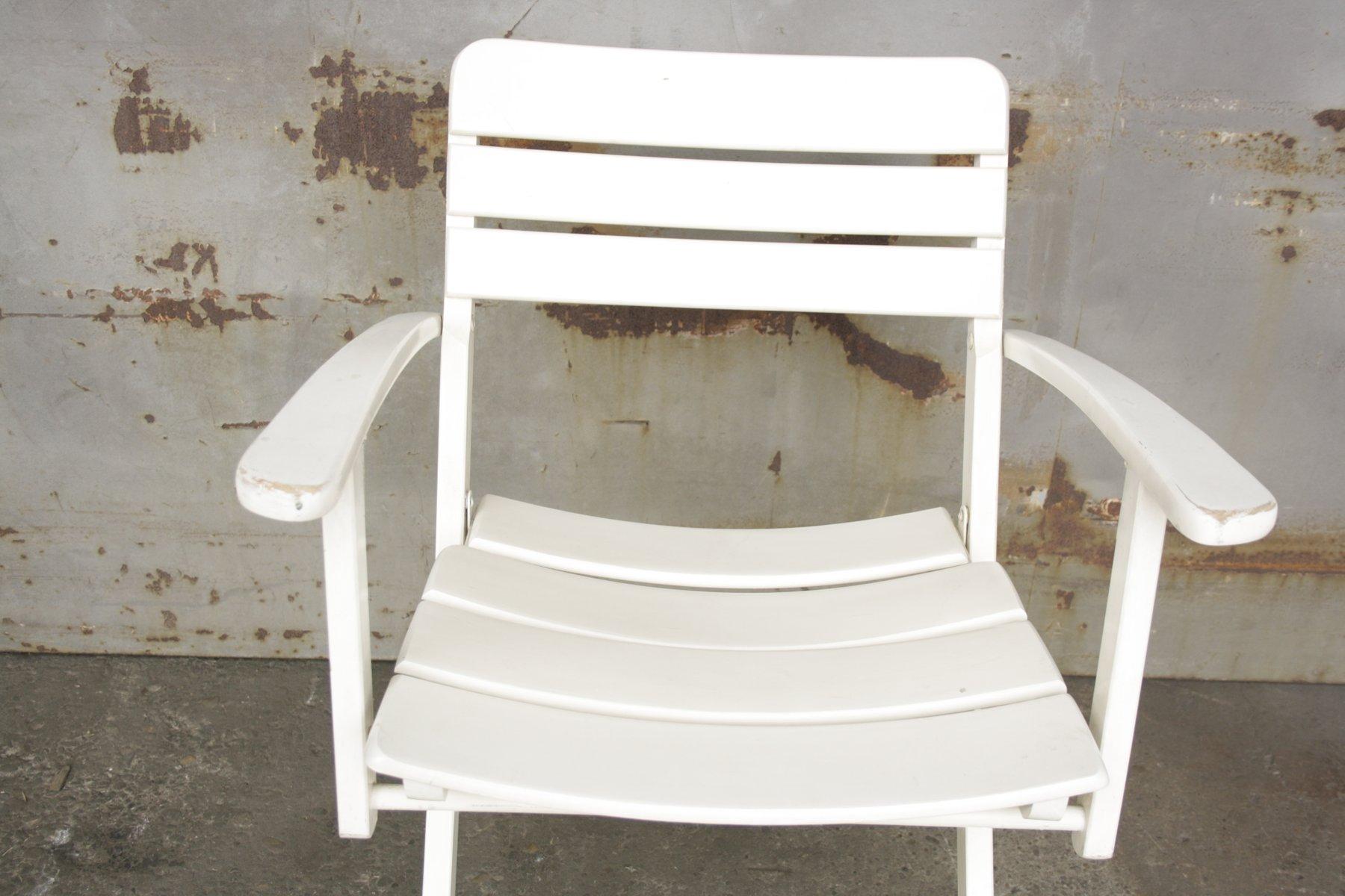 Klappbare Vintage Gartenstühle aus Weiß Lackiertem Holz von Herlag ...