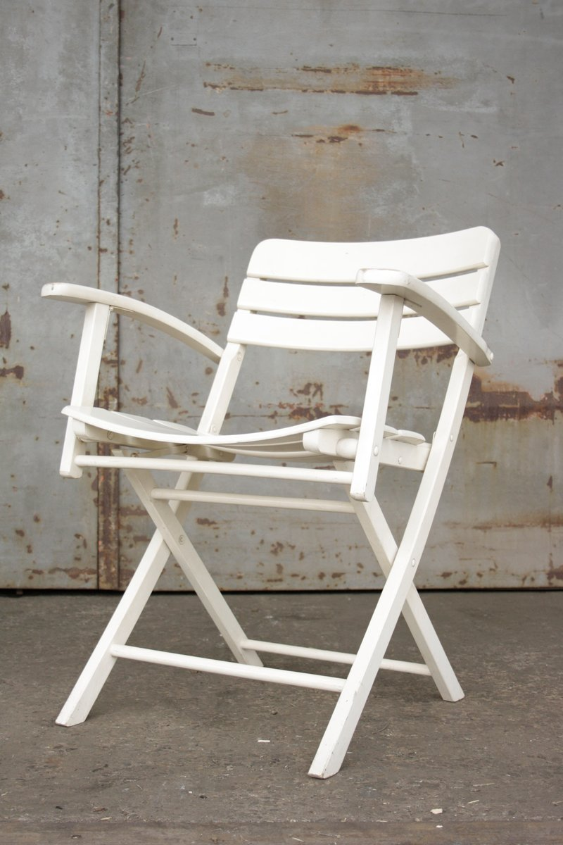 vintage folding garden chairs in white lacquered wood from herlag set of 2 for sale at pamono. Black Bedroom Furniture Sets. Home Design Ideas