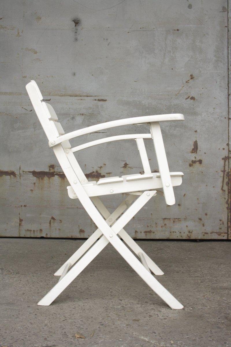 Chaises de Jardin Vintage Pliantes en Bois Laqué Blanc d\'Herlag, Set ...