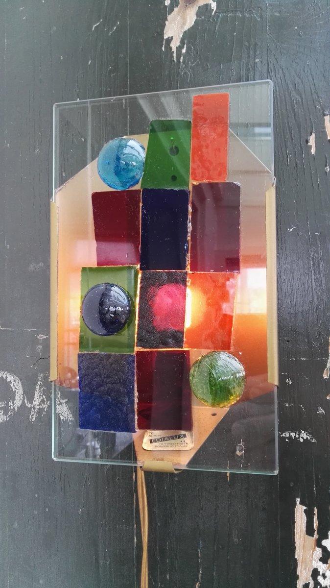 Kleine Wandleuchte aus Glas von Edialux, 1950er