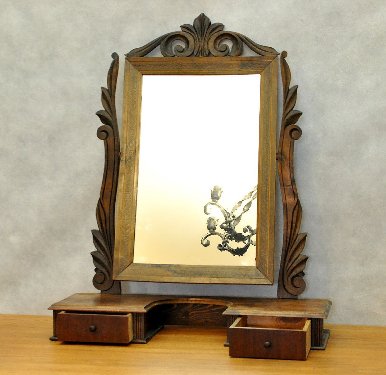 Danish Vintage Dressing Table Mirror With Drawers For Sale At Pamono