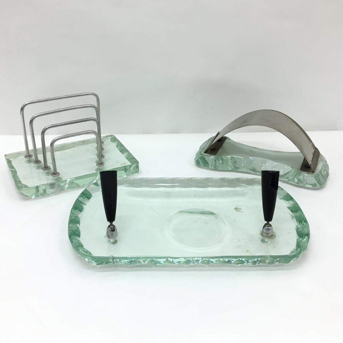 italienisches mid century schreibtisch accessoire set von pietro chiesa f r fontana arte 1950er. Black Bedroom Furniture Sets. Home Design Ideas
