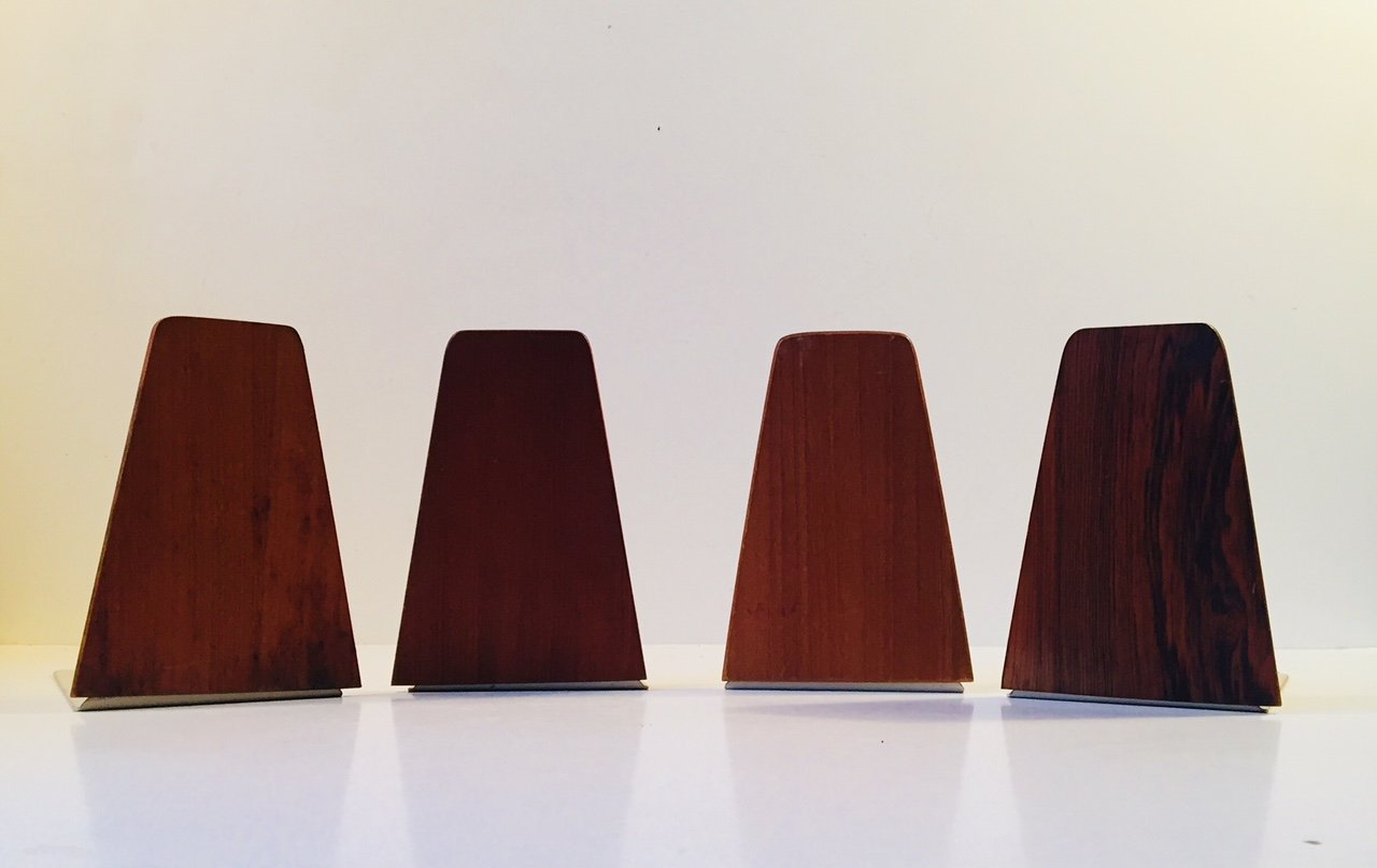 Danish Mid Century Teak And Rosewood Bookends By Fm Moebler 1960s Set Of 4