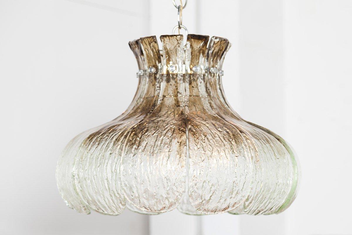Große Vintage Hängelampe aus Muranoglas in Blumenkranz-Optik von Carlo...