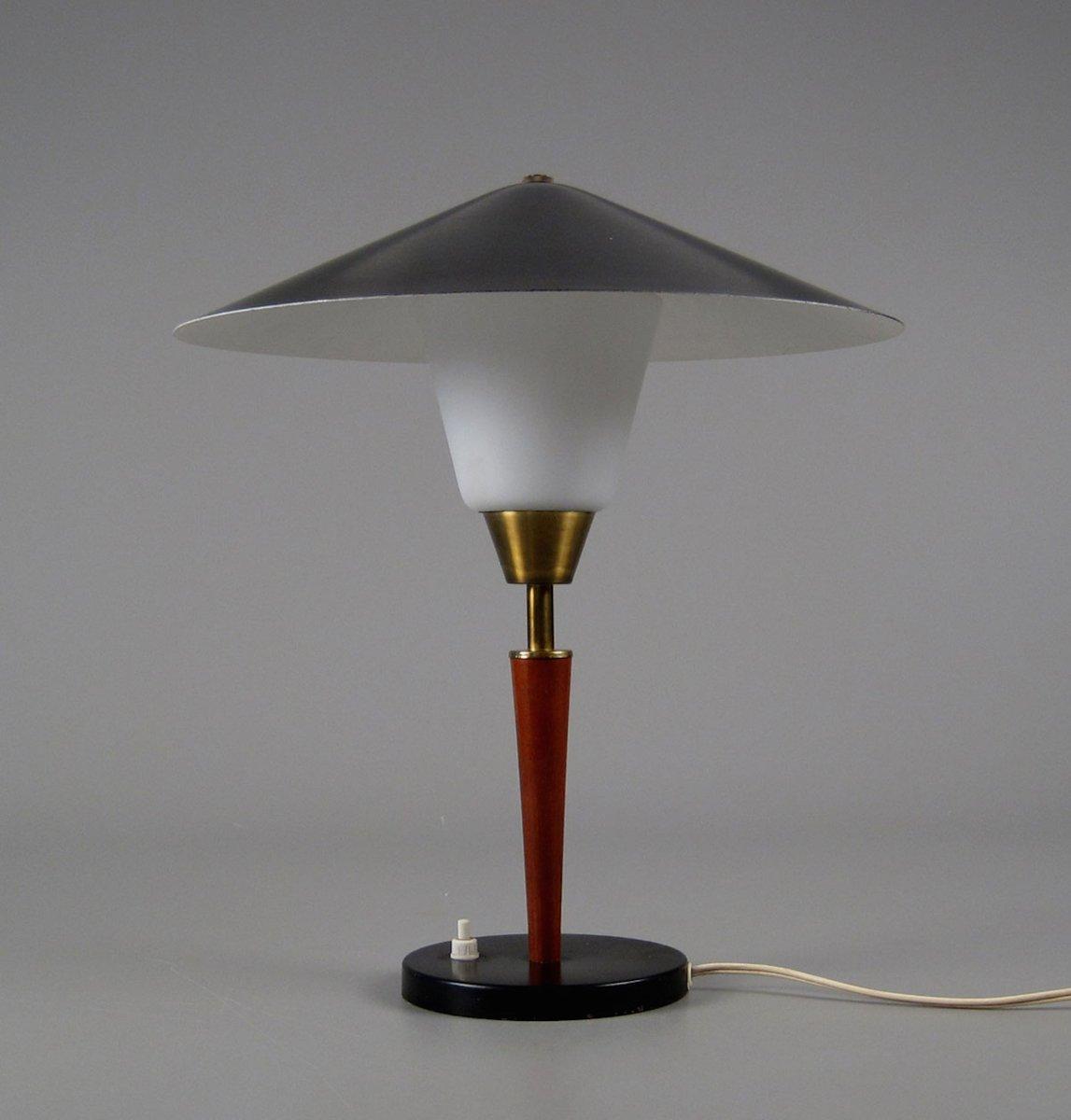 Dänische Tischlampe aus Teak, Messing & Opalglas von Fog & Mørup, 1950...