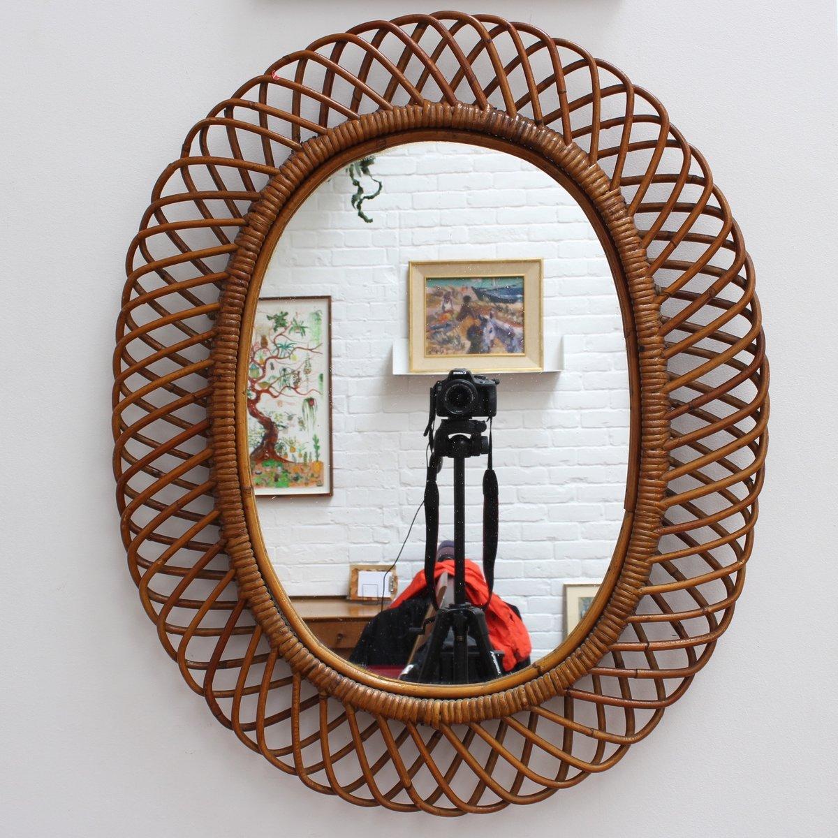 Italienischer wandspiegel mit rattan rahmen 1960er bei pamono kaufen - Italienische designer wandspiegel ...