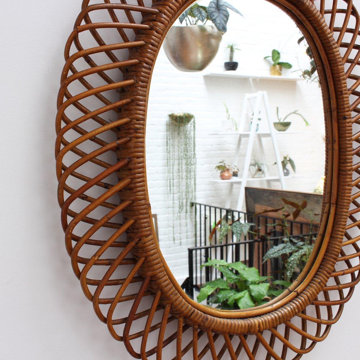 italienischer wandspiegel mit rattan rahmen 1960er bei. Black Bedroom Furniture Sets. Home Design Ideas